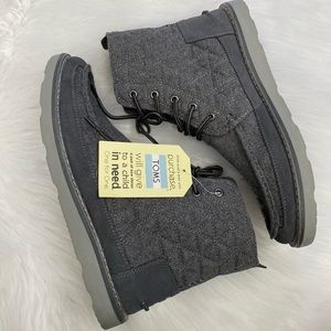 NEW in Box-TOMS Grey Quilted Wool Suede Boots 10